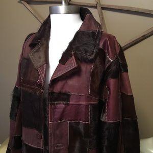 vintage genuine calfhair leather patchwork coat